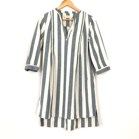 Isabella Sinclair Blue & Cream Stripe Pleated Dress- Size XS