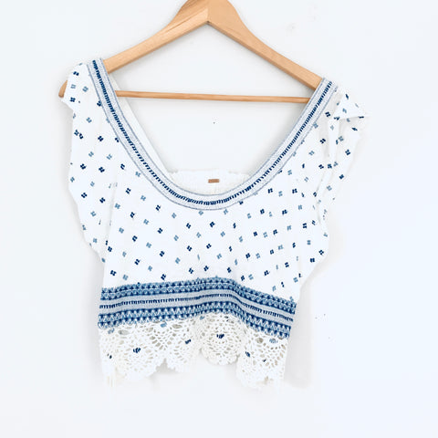 Free People Embroidered Ivory/Blue Swoop Neck Tank with Crochet Hem- Size XS