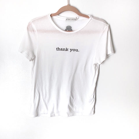 "Alice + Olivia ""Thank You"" White Tee- Size M (Jana)"