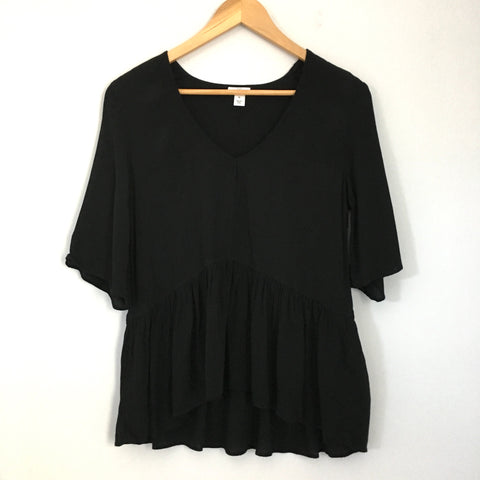 BP Black Sheer Peplum Top- Size XS