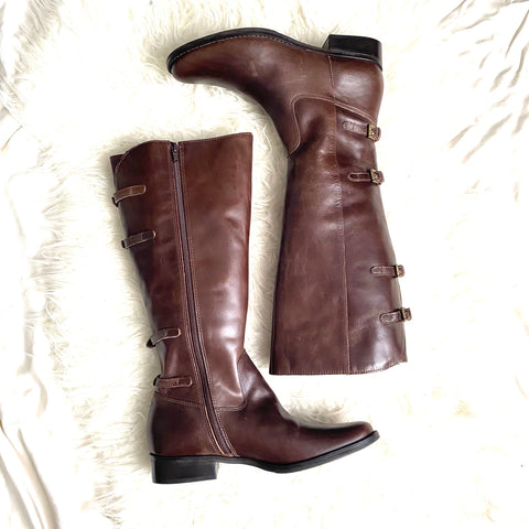 Matisse Dark Brown Buckle Knee High Boots- Size 10