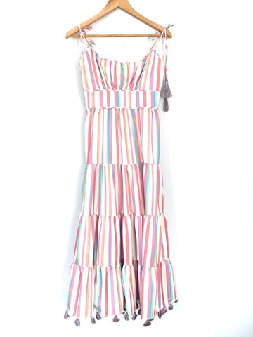 Chicwish Rainbow Tiered Ruffle Maxi with Tassels NWT- Size S