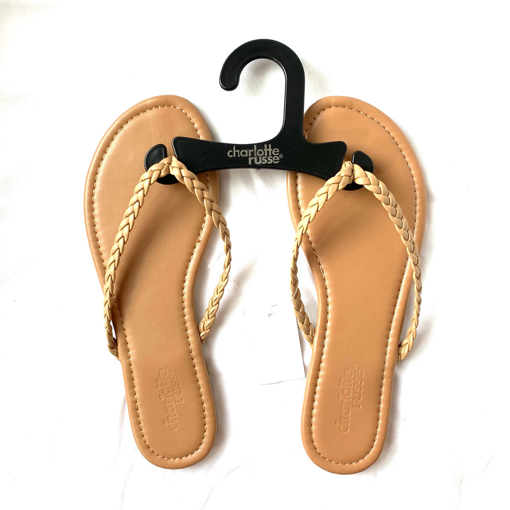 580595fa9804 Charlotte Russe Tan Flip Flops with Braided Straps NWT- Size 6 – The ...