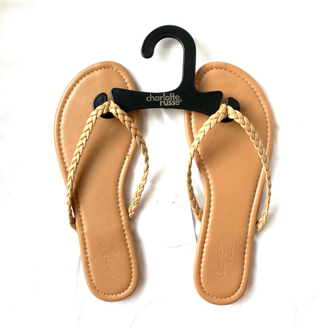 01e13644263 Charlotte Russe Tan Flip Flops with Braided Straps NWT- Size 6