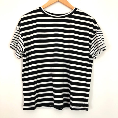 BP Black and White Stripe Two Tone Sleeve Top - Size S