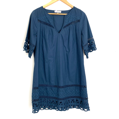 Sugar + Lips Navy Shift Dress with Eyelet and Embroidered Detail- Size ~S
