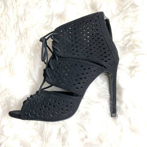 Zara Basic Black Perforated Peep Toe Lace Up Heels- Size 6 (see notes)