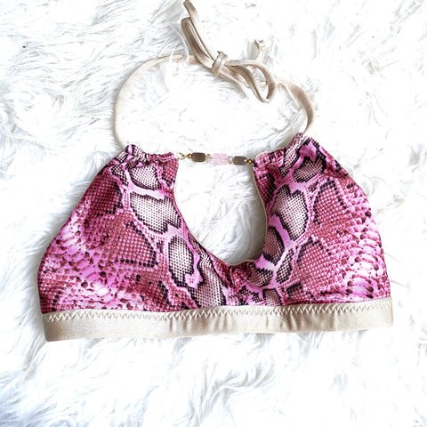 Azure Pink Snakeskin Bikini Beaded Top- Size S (TOP ONLY)