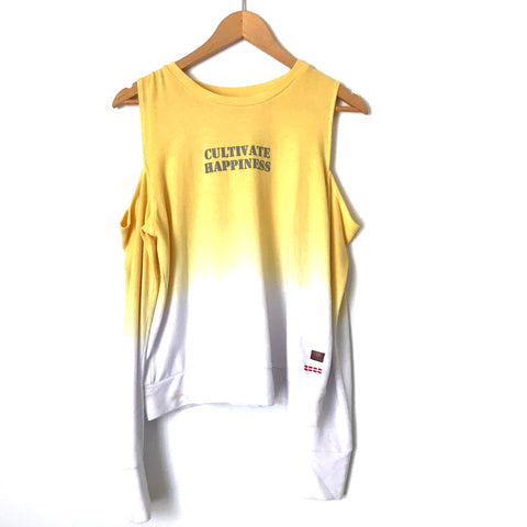"Peace Love World Yellow Ombré ""Cultivate Happiness"" Cold Shoulder Sweater- Size S"