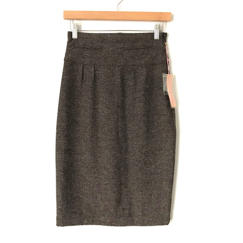 Jenny Han Heathered Brown Faux Front Pocket Functioning Button Up Back Skirt NWT- Size XS