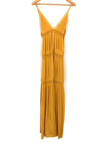 Cotton Candy LA Mustard Tiered Maxi Dress- Size S
