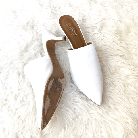 Summit by White Mountain Italian Leather Kitten Heel Mules- Size 36 (see notes)