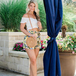 Moon River Yellow Floral Belted Shorts- Size S