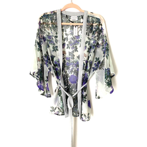 Melrose and Market Light Blue Floral Sheer Kimono NWT- size OS