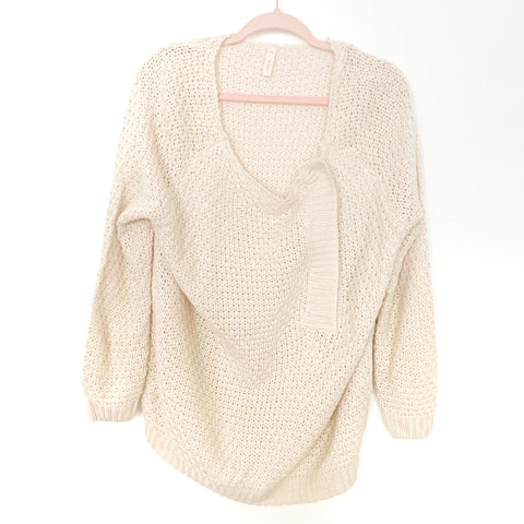 Wishlist Cream Open Knit Open Button Sweater- Size S/M