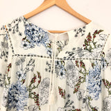 Maeve White Floral Long Sleeve Blouse with Crochet Lace Hem- Size S