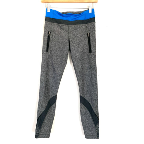 "Lululemon Heathered Grey Legging with Blue Waist Panel and Front Zipper Pockets and Mesh Detail Near Hem- Size 4 (Inseam 25"")"
