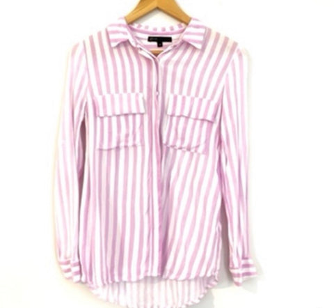 Gibson Vertical Lavender and White Striped Button Up Blouse- Size XS