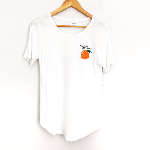 Old Navy White Graphic Orange Tee - Size S
