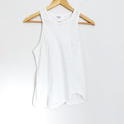Carly Jean Distressed White Racerback Tank- Size S