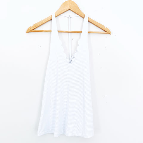 Track & Bliss Anthropologie White Ribbed Scalloped Edge Racerback Tank- Size XS