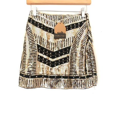 Main Strip Gold Sequin Skirt NWT- Size S