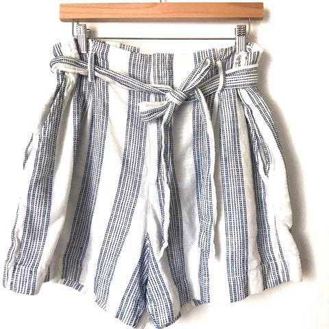 H&M White and Blue Embroidered Stitched Striped Paperbag Shorts- Size 14
