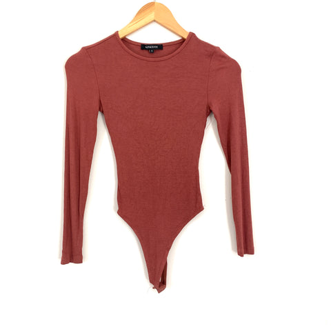 Olivaceous Brown Ribbed Long Sleeve Thong Bodysuit- Size S