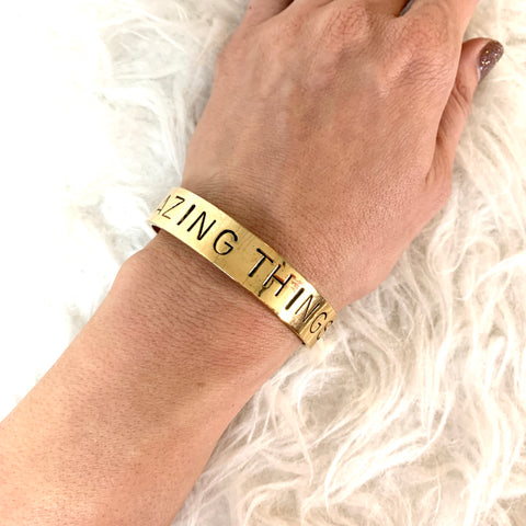 "Alisa Michelle Gold ""Do Amazing Things"" 1/2"" Bangle"