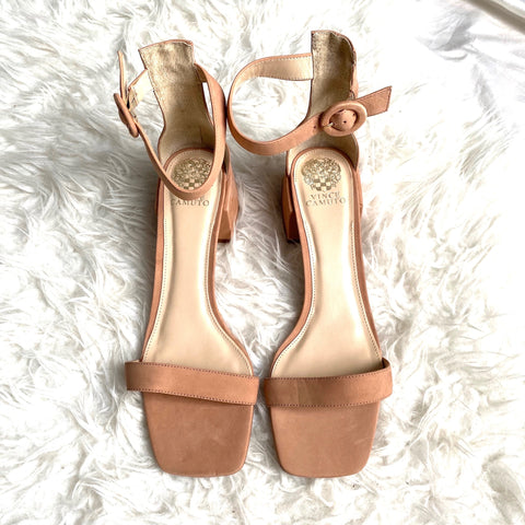 Vince Camuto Nude Ankle Strap Block Heels- Size 11