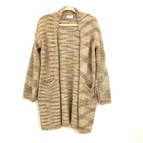 Fable Tan & Grey Fuzzy Soft Pocket Cardigan- Size M