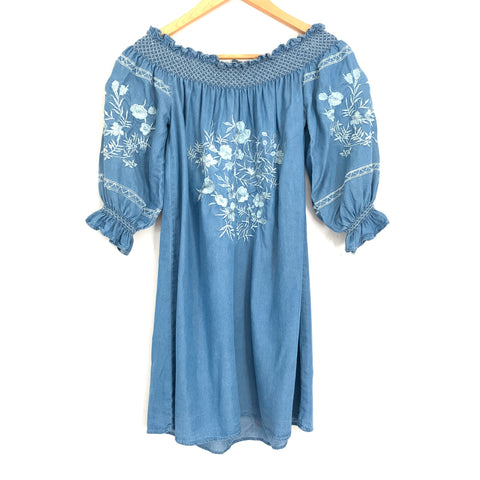 Goodnight Macaroon Chambray Embroidered Dress- Size S