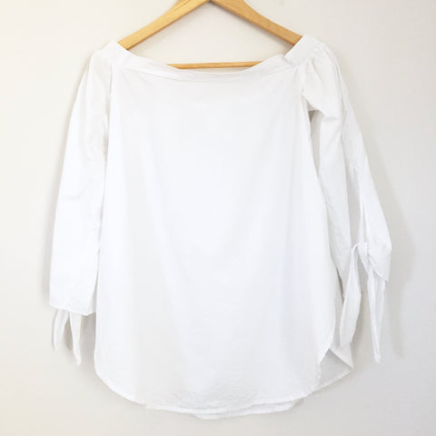 No Brand White Off the Shoulder Top with Side Slits- Size S
