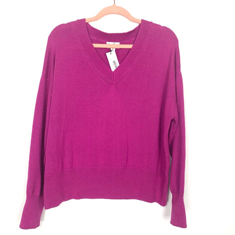 The Drop Magenta V-Neck Sweater NWT- Size XS