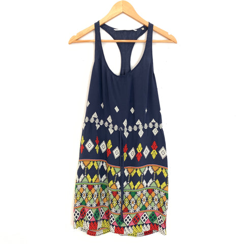 Twelfth Street by Cynthia Vincent 100% Silk Navy Racerback Tank Dress- Size ~XS