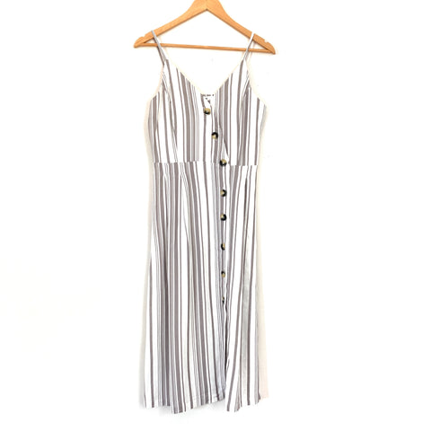 JUSTFAB Striped Button Up Tank Dress- Size S