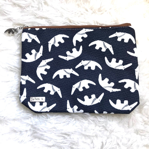 Jules K. Navy Animal Print Zipper Pouch (like new)