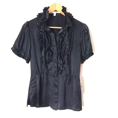 Jenny Han Navy Ruffle Button Up Blouse NWT- Size XS