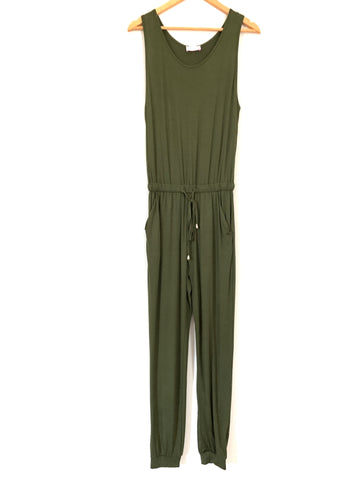 Pink Lily Olive Drawstring Jumpsuit- Size S