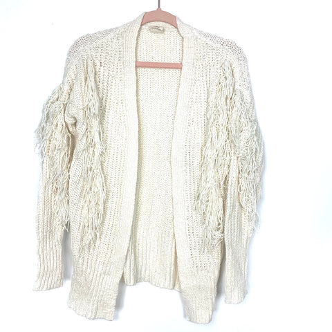 Good Hart By Matilda Jane Cream Fringe Open Front Side Slits Cardigan- Size XS
