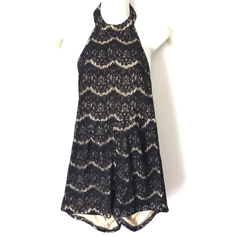 She + Sky Black Lace Halter Neck Exposed Back Romper- Size S (see notes)