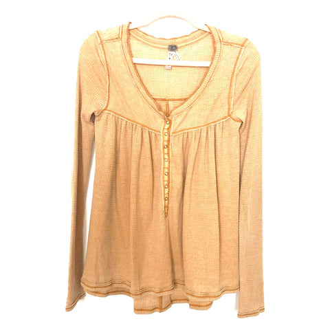 We the Free Mustard Snap Up Waffle Knit Top- Size XS