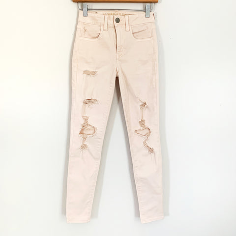 "American Eagle Next Level Stretch X Distressed Light Pink Skinny Jeans- Size 0 (Inseam 27"")"