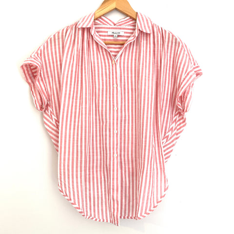 Madewell Pink Striped Tie Front Blouse- Size XS