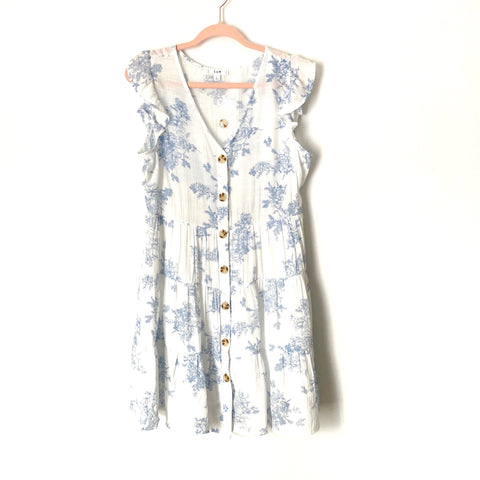 E&M White and Blue Floral Button Up Dress NWOT- Size L