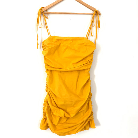Lovers + Friends Mustard Side Ruched Dress- Size S