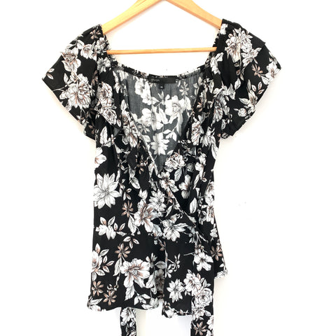 Gibson Black Floral Wrap Blouse with Ruffle- Size XS