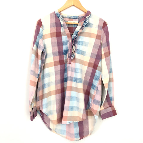 Isabella Sinclair Faded Plaid Tunic with Ruffle Detail - Size XS