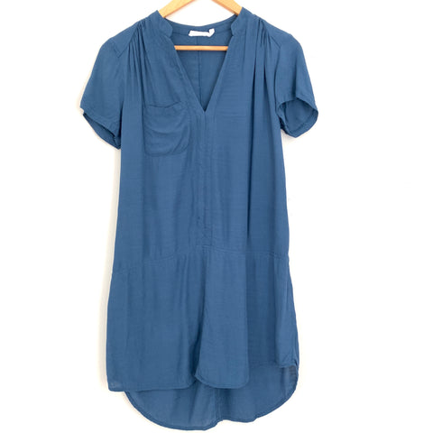 LUSH Blue Pocket Shirt Dress- Size XS