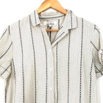 Damsel + The Odells Tan Pinstripe Button Up Cotton Dress with Drop Waist NWT- Size S